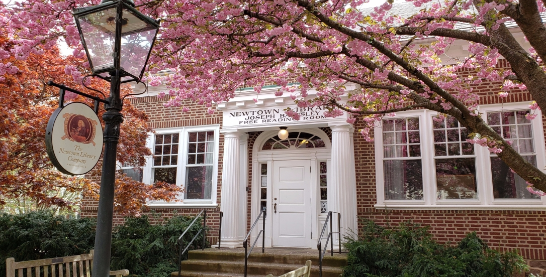 Newtown Library Company entrance in spring