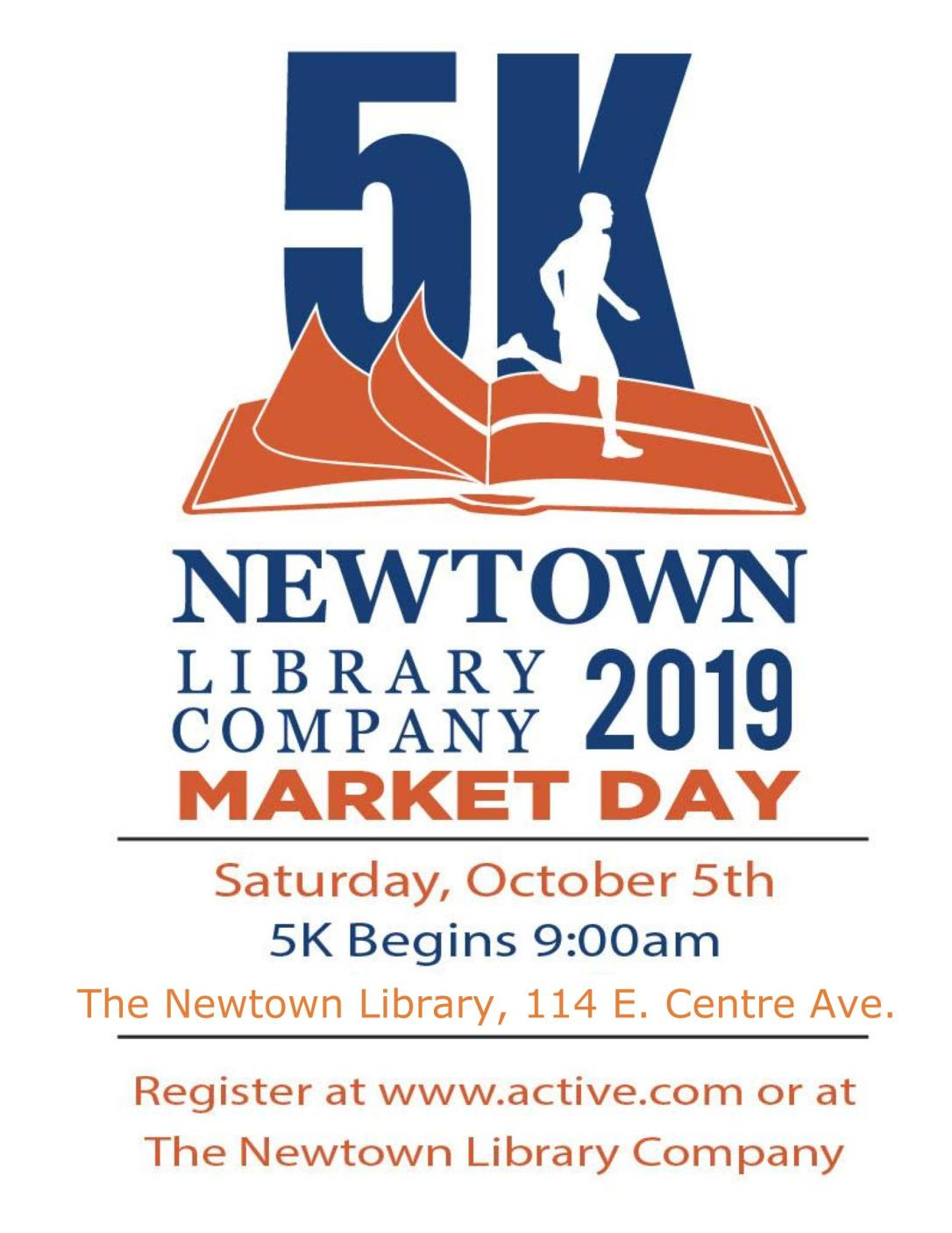 Newtown 5K orange blue Poster with Updated Location